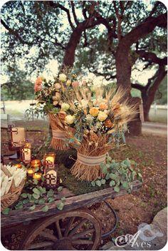 Good wedding decor ideas with wheat for shabby chic wedding . Anthropologie style. Sooo pretty.