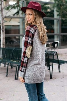 Gray Sweater Top with Plaid and Sequins (S-XL)