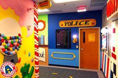 Main Street themed children's church hallway.