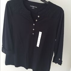 Black Shirt NWT New , all black , three quarter sleeves & super soft ! Croft & Barrow Tops Blouses