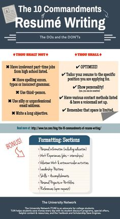 The 10 commandments of resumé writing: the DOs and the DON'Ts when it comes to… College Hacks, College Life, College Club, College Success, School Hacks, Resume Tips, Cv Tips, Resume Help, College Survival Guide