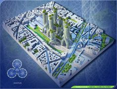 """Vincent Callebaut's 2050 Vision of Paris as a """"Smart City"""",Mangrove Towers from above. Image Courtesy of Vincent Callebaut Architecture"""
