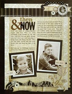 """your """"Then and Now"""" Ideas and inspiration for comparing and scrapbooking your past and present from contributing writer Jean Manis.Ideas and inspiration for comparing and scrapbooking your past and present from contributing writer Jean Manis. Senior Scrapbook Ideas, Graduation Scrapbook, School Scrapbook, Kids Scrapbook, Vintage Scrapbook, Scrapbook Cards, Scrapbooking Ideas, Baseball Scrapbook, Scrapbook Supplies"""