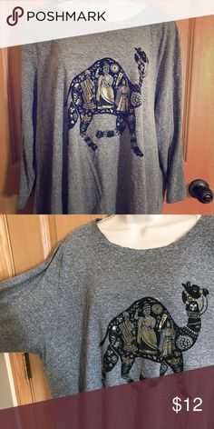 Lucky brand camel tshirt Lucky brand shirt with camel. Heathers grey color in soft material with a little stretch. 3/4 sleeves. Lucky Brand Tops Tees - Long Sleeve