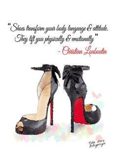 Black & Red Louboutin High Heels Shoes Quote Fine Art Giclee Print from Original Watercolor Fashion Illustration Artwork – fashion quotes style Louboutin High Heels, Red Louboutin, Christian Louboutin, Shoes Heels, Red Shoes, High Heel Quotes, Heels Quotes, Grafik Art, Etiquette Vintage