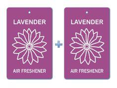 Lavender Floral Air Freshener Paper Hanging Bar (Pack of 2)/ Car-Home-Office Natural Pocket Deodorizer