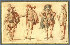 Four Commedia dell'Arte Figures. Pen and black ink, grey and red wash. Claude Gillot (1673–1722)