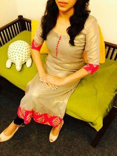 Color scheme is wonderful Salwar Neck Designs, Dress Neck Designs, Kurta Designs, Blouse Designs, Salwar Pattern, Kurta Patterns, Dress Patterns, Indian Attire, Indian Wear