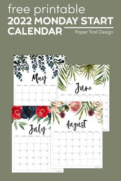 Print these free adorable floral Monday start 2022 calendar page printables. These are perfect for a DIY planner or organization. Free Printable Calendar Templates, Printable Planner Pages, Free Printables, Diy Craft Projects, Fun Crafts, Amazing Crafts, Print Calendar, Calendar Pages, Job Cover Letter