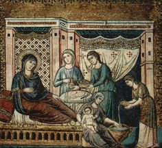 Pietro Cavallini, La Natività della Vergine, Santa Maria in Trastevere, Rome Santa Maria, Nativity Of Mary, Fresco, Web Gallery Of Art, Late Middle Ages, Les Religions, Italian Painters, European Paintings, Blessed Virgin Mary