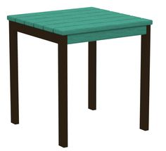 """Polywood AT18-16AR Euro 18"""" Side Table in Textured Bronze Aluminum Frame / Aruba"""