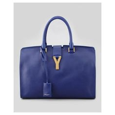 Y-LIGNE CABAS LARGE LEATHER CARRYALL BAG, BLUE - SAINT LAURENT $2,695.00