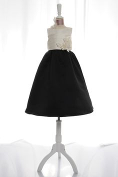 Beautiful A-line satin sleeveless flower girl dress