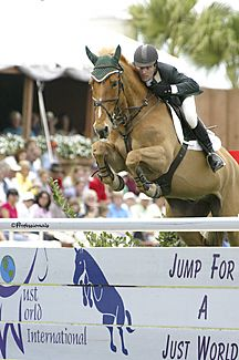 Kevin Babington on Carling King, his mount in the 2004 Olympics, representing Ireland.