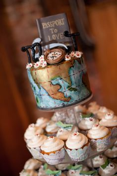 Traveling, passport to love, wedding cake & cupcakes [Nick Corona Photography, Blue Oaks Photography]