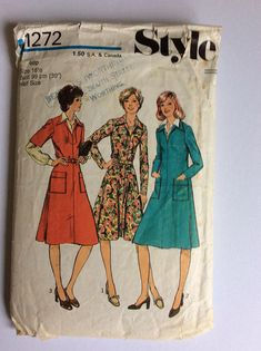 Vintage 70s Style Sewing Pattern 1272 - Size 16.5 - Bust 39 inches - Vintage Dress Sewing Pattern - Vintage Day Dress