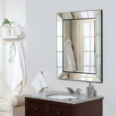 Afina Single Door Radiance Recessed Contemporary Medicine Cabinet - Bathroom Mirrors at Simply Mirrors Bathroom Mirror Cabinet, Mirror Cabinets, Bathroom Cabinets, Recessed Medicine Cabinet Mirror, Vanity Mirrors, Mirror Backsplash, Kitchen Cabinets, Small Framed Mirrors, Ideas