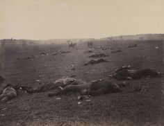 """Photography's seemingly direct and immediate documentation changed the way Americans thought about war by bringing home the carnage and devastation of combat in grim, graphic images of ruptured battlefields strewn with bloated corpses, as exemplified by Timothy O'Sullivan's """"A Harvest of Death, Gettysburg, July 1863."""" Ten days after viewing this and similar images recording the gruesome costs of war, President Lincoln delivered his immortal Gettysburg address. Chrysler Museum"""