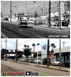 Top: 'Psycho' scene filmed at 4268 Lankershim Blvd. in North Hollywood; Bottom: same scene today Hollywood Hotel, North Hollywood, Bakersfield California, Southern California, Famous Movie Scenes, San Fernando Valley, Cities, Los Angeles Area, Car Memes