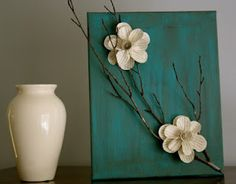 3D flower art - paper flowers on painted canvas