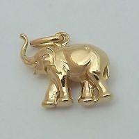Lucky elephant solid gold elephant pendant solid gold pendants yellow gold puffy lucky elephant trunk up charm pendant aloadofball Images
