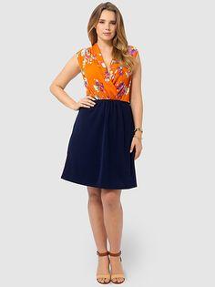 Posey Print Shawl Collar Dress