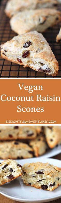 These Coconut Raisin Vegan Scones have the perfect texture and are wonderful to enjoy with tea. They're also ideal for serving at breakfast or brunch. via @delighfuladv