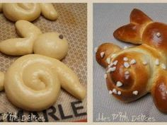 Petites brioches lapin de Pâques (the blog with the original post and instructions is blocked/private, but the pic gives the basic idea of how to make Easter bunny brioche)