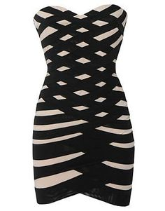 Bandaged Bandeau Dress: Features a sexy bandeau design with stunning sweetheart bustline, mesmerizing criss-crossed bandage straps covering the front of the dress, solid black backside, and a beckoning body-conscious silhouette to finish.