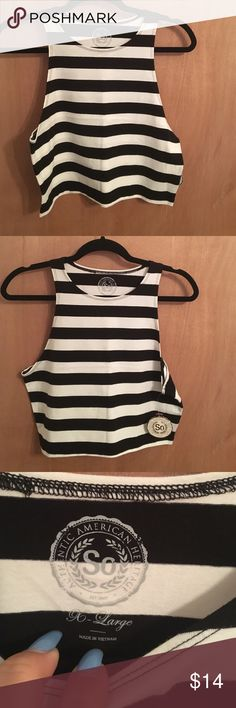 SUMMER SALE BOGO 50% OFFStriped crop top New with tags. Adorable crop top from Kohls. Juniors XL (a little snug in me in my chest). For reference I'm an average women's large with a 38DD chest and it's too stretched out on me. Adorable though! SO Tops Crop Tops