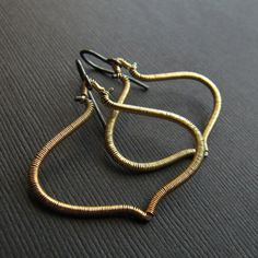Wire Wrapped Earrings Gold and Silver Two Tone by mylenefoster, $85.00