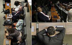 Após 41 horas em dois dias de longas sessões, a votação da MP dos Portos foi aprovada pela Câmara dos Deputados com direito a muito cansaço. Alguns parlamentares não aguentaram as longas horas até a decisão sair, e foram vistos cochilando no plenário.