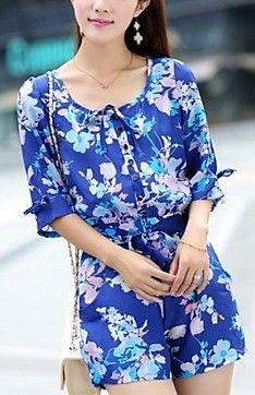 Round Collar Front Button Floral Print Jumpsuit
