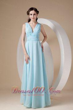 4d7aa0e9af3 Sexy Blue Chiffon Long Bridesmaid Dresses A-line Pleats Floor Length Women  Formal Sexy Deep V Neck Wedding Party Gowns Custom