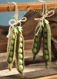 Burlap Pea Pod Ornament