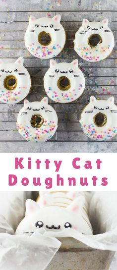 Kitty Cat Doughnuts So what gets me going in the mornings? Hunger, mostly… Hunger for something that's equal parts whimsy and deliciousness… Like some sweet kitty cat doughnuts! Birthday Cake For Cat, Birthday Party Themes, Birthday Kitty, Birthday Party For Cats, Kitty Party Themes, Birthday Ideas, 9th Birthday, Cupcakes Chat, Cat Themed Parties