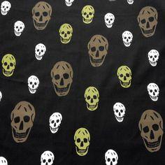 Multi-Color Skull Chiffon Lime/Brown/White Skulls on Black Chiffon 58 – Fabric Cult