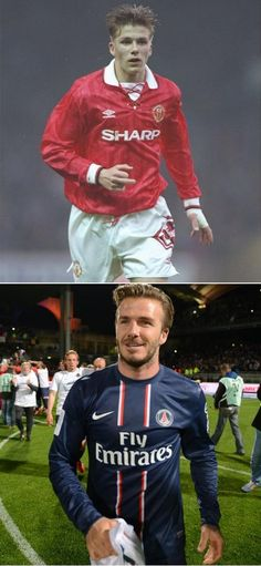 Then and now: David Beckham in his first season playing for Manchester United in 1992, and after PSG's victory in the French league championship on Sunday, his last game of his professional football career.