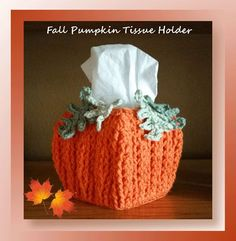 Enjoy this fun pumpkin tissue holder all season long using post stitches and fun easy to work loopy leaves!