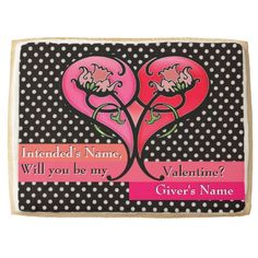 Love's in Bloom (Personalized) - Imagine the surprised, gleeful, love-struck look on the face of the one you love after opening the box holding this humongous yummy cookie decorated w/an Art Nouveau-inspired design of a heart infused w/ fanciful flowers on a field of white on black polka dots & 4 staggered ribbons behind text fields w/ your personal message! Now imagine being thanked for this romantic gift! #valentinecookie #personalizedvalentinesdaygifts #personalizedediblevalentine