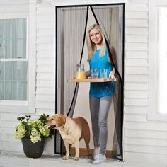 Homitt Magnetic Screen Door with Heavy Duty Mesh Curtain and Full Frame Velcro Fits Door Size up to Max- Black