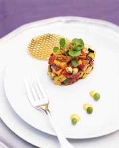 Brides: Summer Vegetable Timbale. Sometimes the sweetest things are also the tiniest: A summer vegetable timbale appetizer is packed with seasonal flavor.  Food by Executive Chef Tim McLaughlin of Restaurant Associates