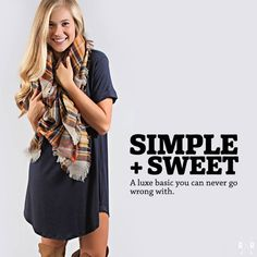 Shop the 'sweet and simple tee dress' (only $30!) and the 'watch the sunset plaid scarf' as the perfect duo today on ShopRiffraff.com!