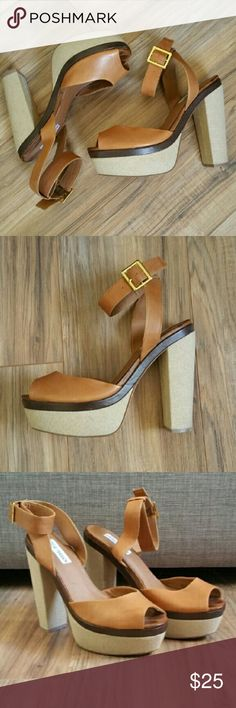 Steve Madden Chunky Heeled Platforms - 9.5 These platform heels give off a 70s vibe with a chunky heel and ankle strap.  Tan leather upper, canvas type material on platform. Used a couple of times.  Great condition. Steve Madden Shoes Platforms