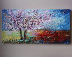 pintura pintura de flores flores de cerezo árbol por artbyoak1
