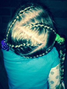 Braids into two ponytails Two Ponytails, Little Girl Hairstyles, Little Girls, Braids, Hair Styles, Beauty, Beleza, Cornrows, Haircuts For Little Girls