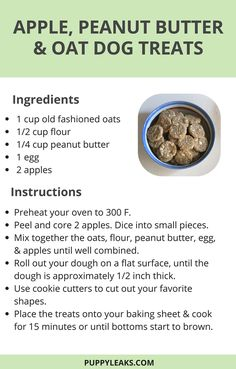 Quick & Easy Apple, Peanut Butter & Oat Dog Treats - Looking for an easy homemade dog treat recipe? Try these easy DIY dog treats made with apple, peanu - Homade Dog Treats, Homemade Dog Cookies, Puppy Treats, Diy Dog Treats, Homemade Dog Food, Healthy Dog Treats, Peanut Butter Dog Treats, Recipe For Homemade Dog Biscuits, Frozen Dog Treats