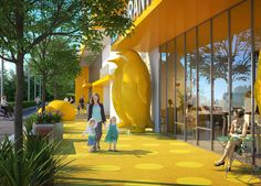 Wide sidewalks, sculptural elements, and landscape features create a buffer to the street and provide safety for young pedestrians. | The Urban Nest | KTGY Architecture + Planning