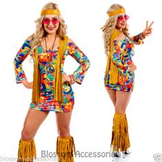 Go Go Retro Hippie Dancing Groovy Party Disco Fancy Dress Up Costume Disco Fancy Dress, Fancy Dress Up, Retro Dress, 70s Costume, Hippie Costume, Dress Up Costumes, 70s Outfits, Hippie Outfits, Woodstock Costume