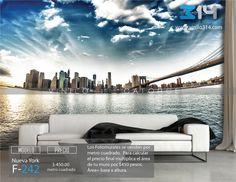 Fotomurales ciudad skyline NY Nueva York Puente de Brooklyn Bridge (Tapiz) (mural) (fotomural) Decoración de muros y superficies lisas. Vinilo 314 Guadalajara Mexico. www.vinilo314.com